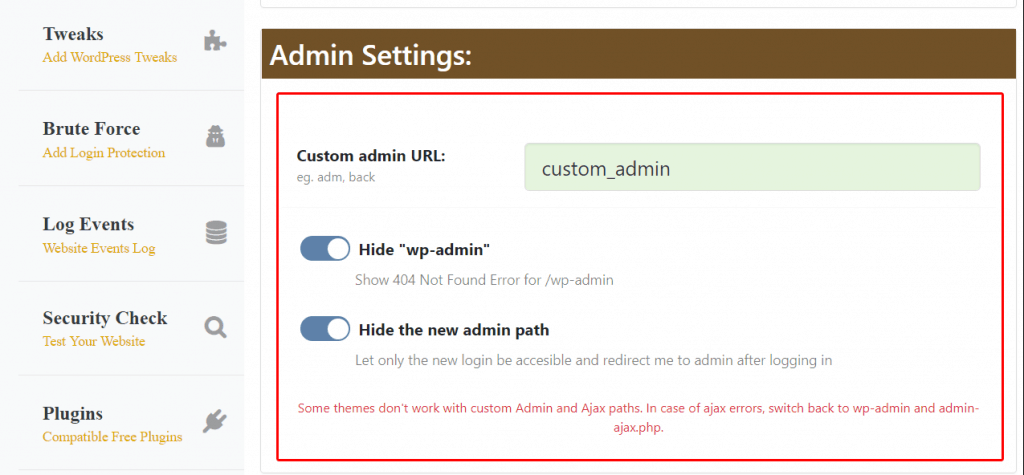 change wordpress admin path